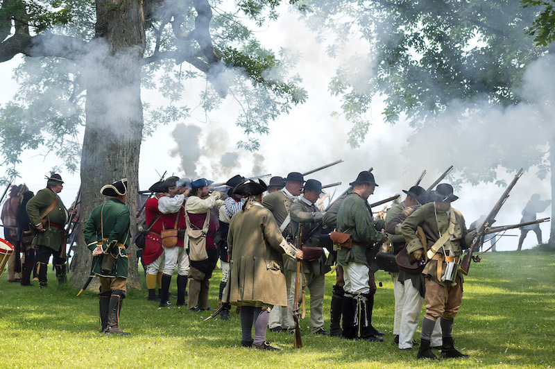 Battle demonstrations will happen at 11 a.m. and 2 p.m. Saturday and Monday, and at 2 p.m. Sunday during the French and Indian War Encampment at Old Fort Niagara. Cannon and musket fire will be ongoing all three days. (Photo by W. Peters)