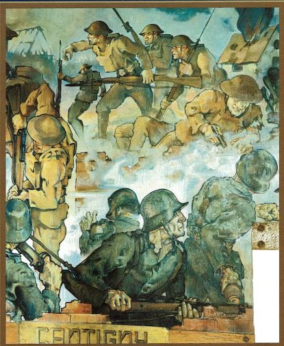 `The Lions of Cantigny` mural in the Fort Niagara Officers' Club highlights the U.S. 28th Infantry Regiment, which was victorious in the Battle of Cantingy in World War I. Special presentations at 1 p.m. and 3 p.m. on Sunday will share the history depicted in this mural.