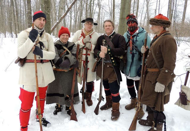 British Rangers will exchange musket fire with French soldiers at `Snowshoe Patrol,` Feb. 4 at Old Fort Niagara. Afterward, they serve visitors hot chocolate. (photo G. Harding)